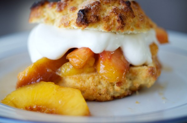 Peach Shortcake with whipped cream closeup