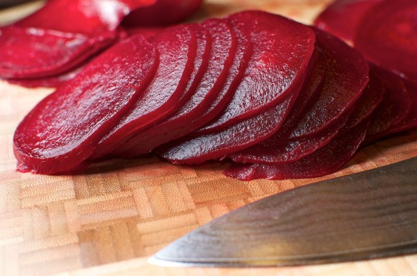 Sliced Beets on cutting board