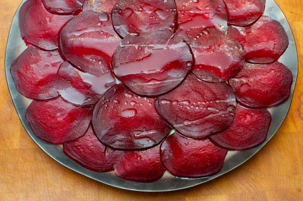 Sliced beets on a platter