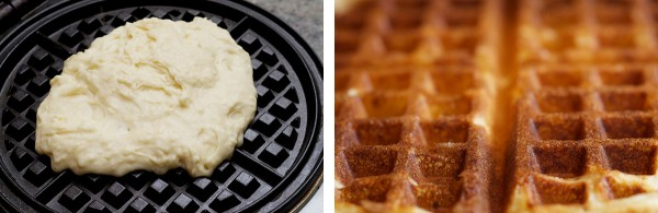 It's like a transformer. But instead of changing from a car into a robot, it changes from white batter into the prettiest, delicate-crunchy-creamy red-brown waffle you've ever had. Just like a transformer?